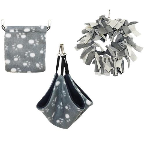 Grey & White Pouch Set
